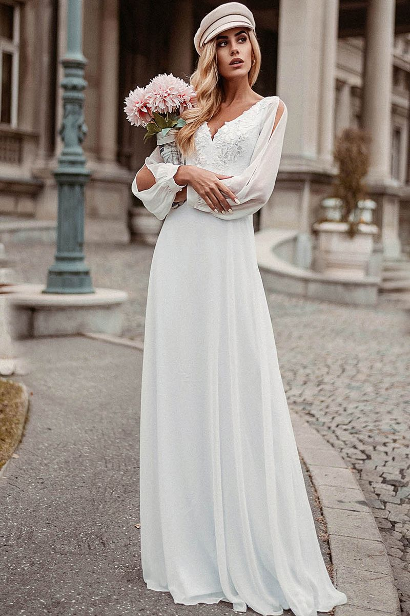 Ever Pretty Split Sleeve Sequin Applique Detail Chiffon Prom Dress Wedding Dress Long Sleeve Simple White Wedding Dress Elegant Boho Dress [ 1200 x 800 Pixel ]