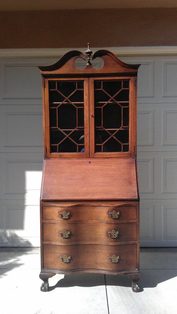 Gorgeous Chippendale Secretary Hutch desk antique by DejaVuDecors, $599.00  This I absolutely love! - ON HOLD For Will Chippendale Secretary Hutch Desk Antique Regecny