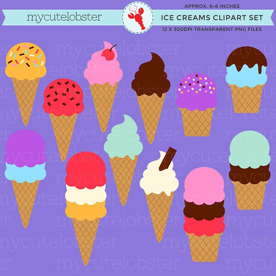 Assorted Ice Creams Clipart Set  clip art por mycutelobsterdesigns