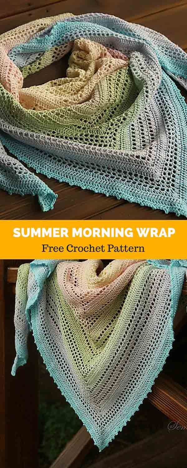 Summer Morning Wrap [ FREE CROCHET PATTERN | Dreieckstuch, Häckeln ...