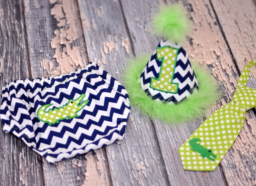 Birthday Party Hat, Diaper Cover, Tie - First Birthday, Smash Cake Pics, Photo Prop - Little Preppy Alligator - Cake Smash Outfit in Navy Chevron with Lime Green Dots
