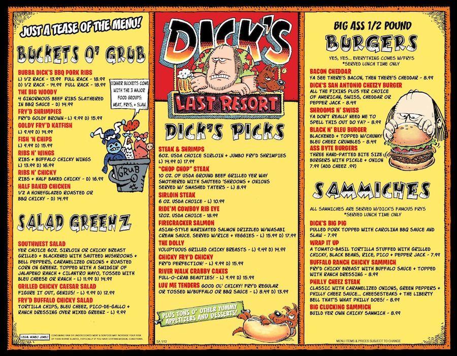dicks las vegas menu