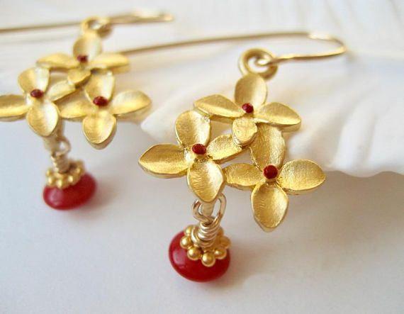 Red EarringsFlower Earrings with Gold Filled Hook Ear