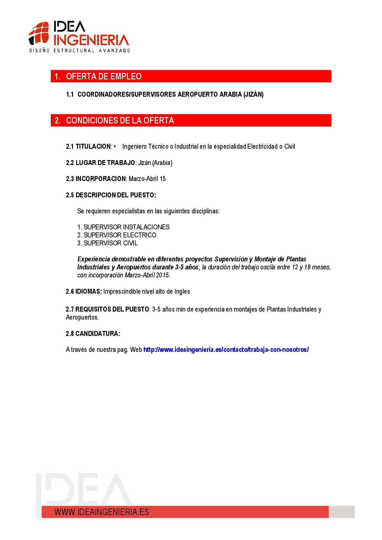 Nueva oportunidad laboral: Supervisión y Montaje de Plantas ...