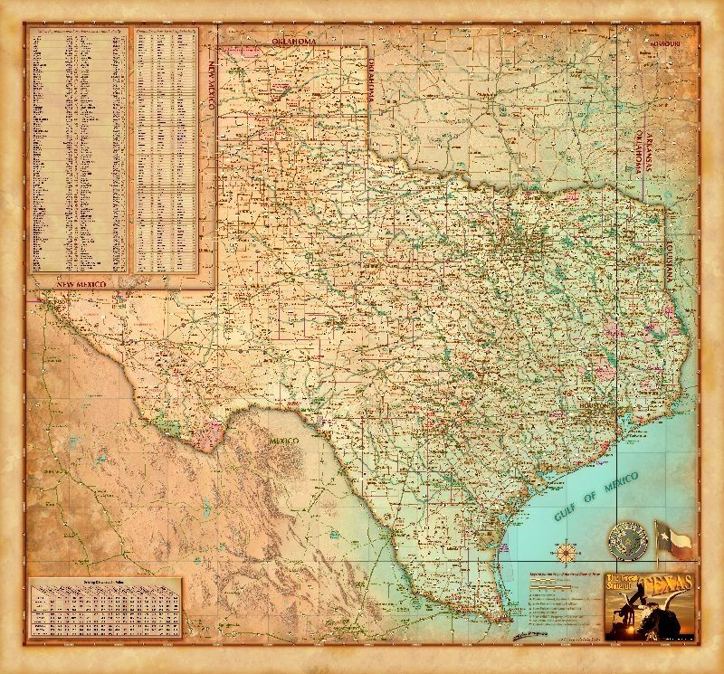 Relief Map Of Texas.This Decorative Map Of Texas Is Colorful And Easy To Read Featuring
