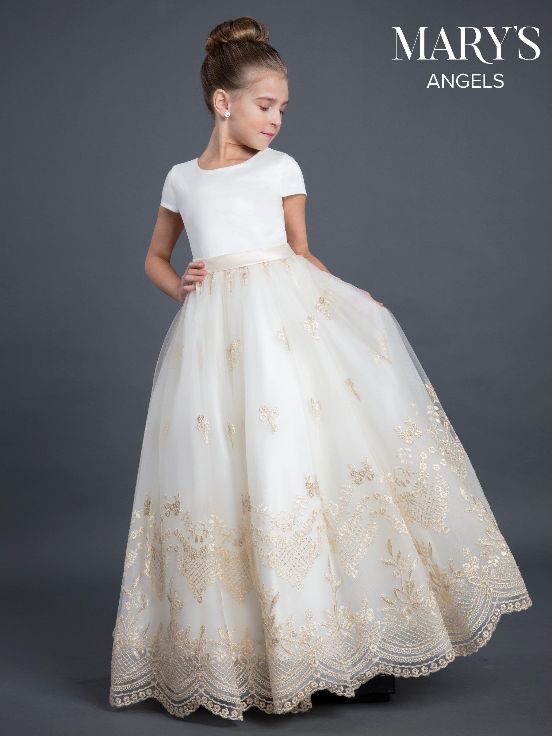 Girls Long Applique Short Sleeve Dress By Mary S Bridal Mb9026 In 2021 Satin Flower Girl Dress Girls Ball Gown Girls Communion Dresses [ 2400 x 1800 Pixel ]