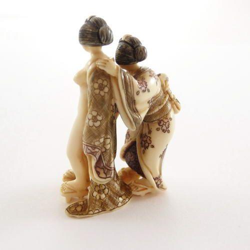 Mammoth Ivory Netsuke - Two Japanese Women Taking Off Dress