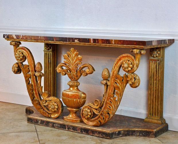 A Spectacular 19th Century Italian Marble Top Console Table | Decorative Arts & Fine Antiques - DAFA
