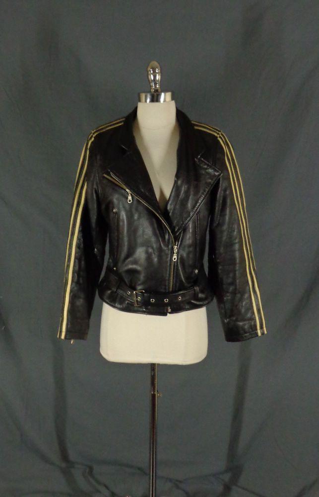 Vintage Womens Oakwood Black Leather Striped Sleeve Perfecto Motorcycle Jacket S Oakwood Doyoureallyneedone Vintage Ladies Leather Striped Vest For Sale