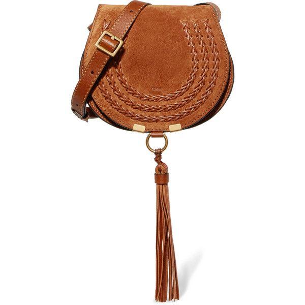 Marcie Mini Whipstitched Suede And Textured-leather Shoulder Bag - Tan Chloé ugcmzlJV3l