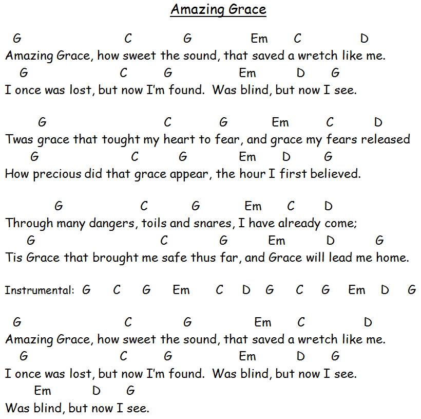 Amazing Grace Free Piano Sheet Music With Lyrics: Guitar Chords For Amazing Grace