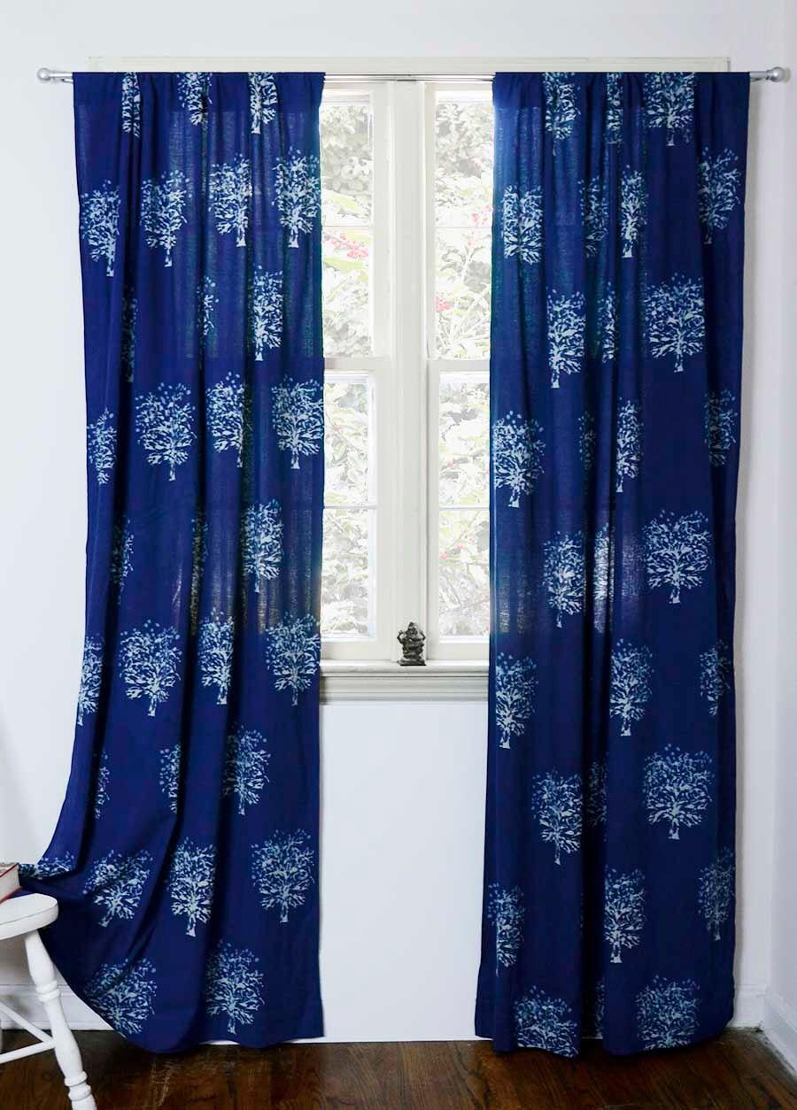 Indigo Blue Curtain Window Curtains Bedroom Bohemian Boho Decor Housewares ONE Panel 44 X 96L Block Print