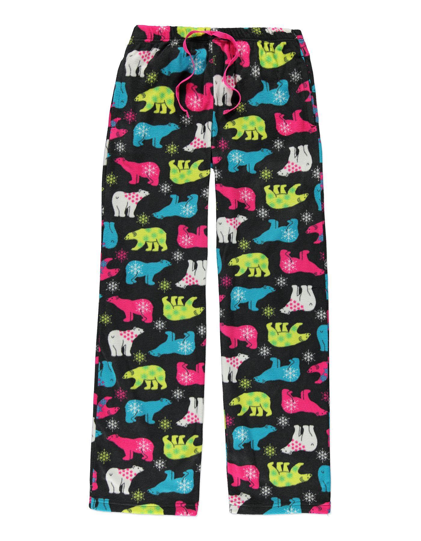 Polar Bear Print Fleece Pyjama Bottoms Women at