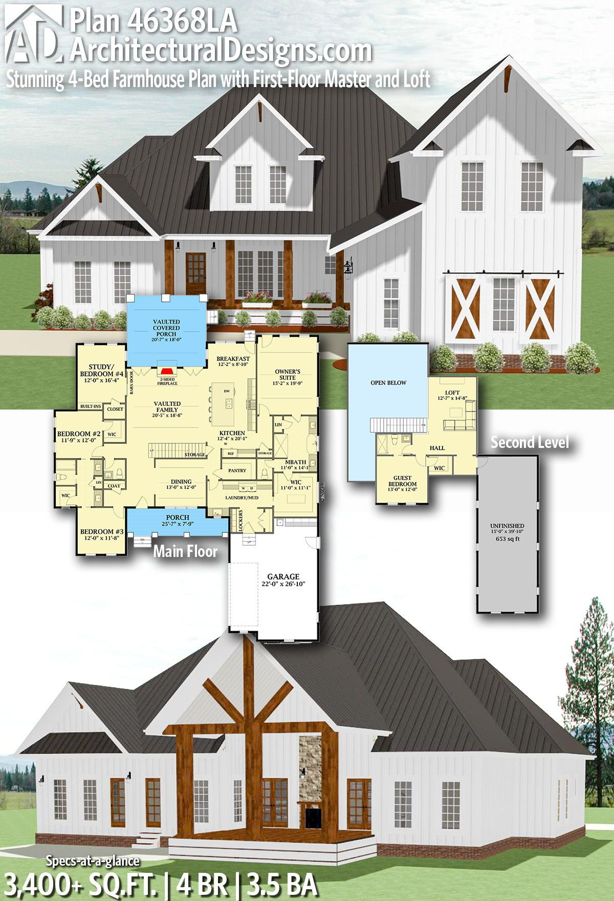 Plan 46368la Stunning 4 Bed Farmhouse Plan With First Floor Master And Loft Farmhouse Plans Farm House Living Room House Plans