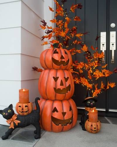 Outdoor Glowing Stacked Jack-O'-Lanterns By Balsam Hill