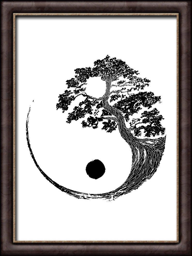 Yin Yang Bonsai Tree INSTANT DOWNLOAD Japanese Buddhist Zen | Etsy