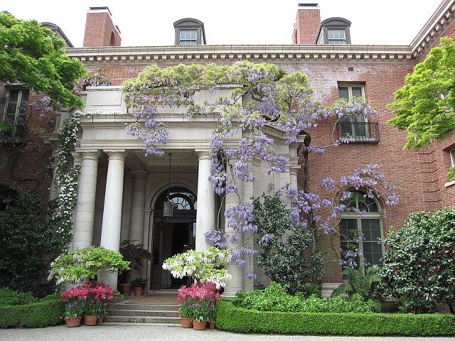 Magnificent entry with wisteria at filoli house and for Filoli garden pool