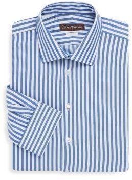 Hickey Freeman Wide Stripe Classic-Fit Cotton Dress Shirt