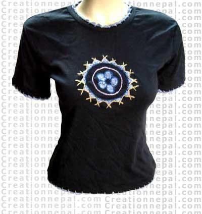 Rib cotton T-shirt