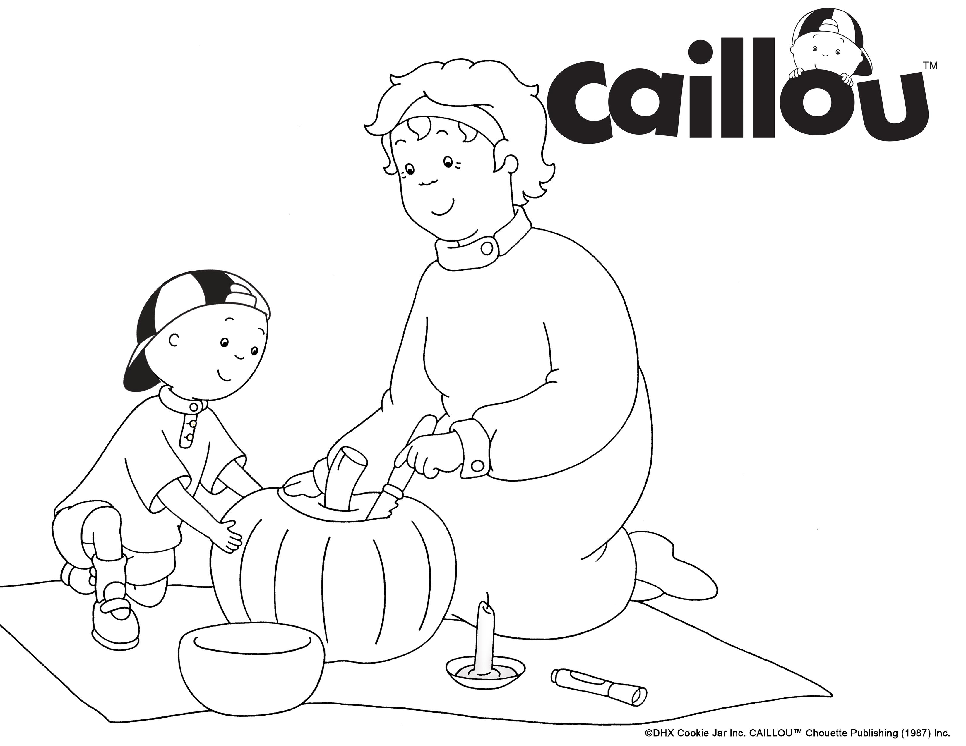 Print & Color - Caillou & Grandma Pumpkin Carving Coloring Sheet ...