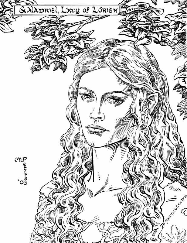 Galadriel Fairy Drawings Tolkien Art Coloring Books