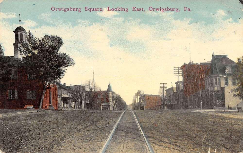 Orwigsburg Pennsylvania Square Street Scene Antique Postcard K38647 Street Scenes Antique Postcard Orwigsburg