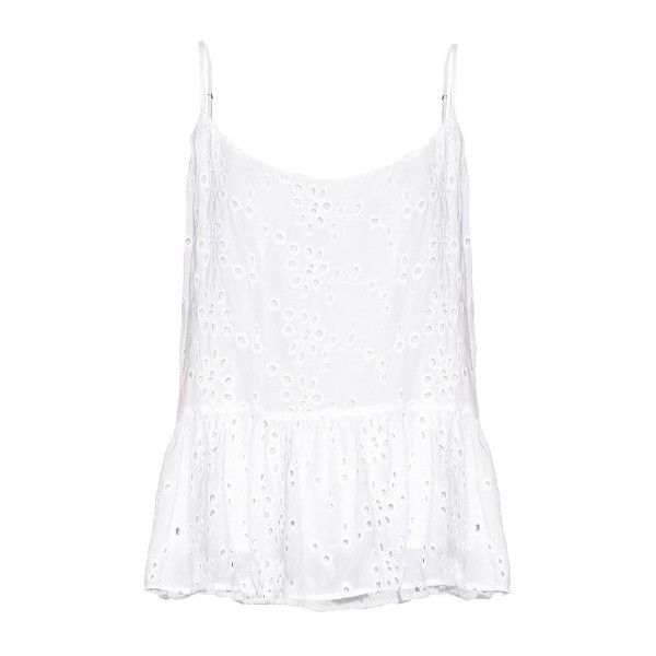 Velvet By Graham & Spencer Marisa ruffled-hem broderie-anglaise cami... ($87) ❤ liked on Polyvore featuring tops, camisole tank top, white tank top, white singlet, white cami top and summer tanks