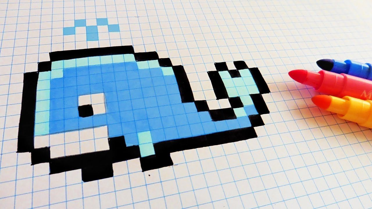 Handmade Pixel Art How To Draw A Whale Pixelart Dessin