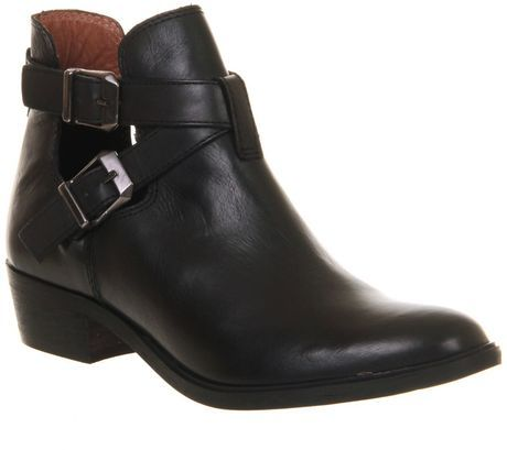 Office Bronson Cut Out Black Leather Ankle Boots Need These In My Life For A W