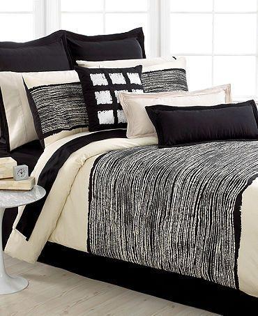 Echo Design Brushstroke Twin Modern Comforter Set Black Ivory
