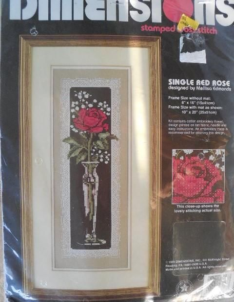 Dimensions  Single Red Rose  Stamped Cross Stitch