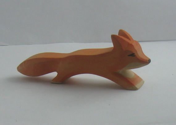 Original OSTHEIMER wooden figures / wooden animals (marked). Wooden toys. Animals in field and forest: 2 foxes (large and small). VINTAGE