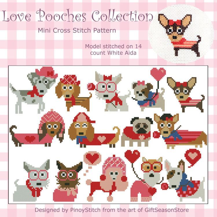 Love Pooches Dogs Collection Mini Cross Stitch PDF Chart by PinoyStitch on Etsy https://www.etsy.com/listing/176086453/love-pooches-dogs-collection-mini-cross