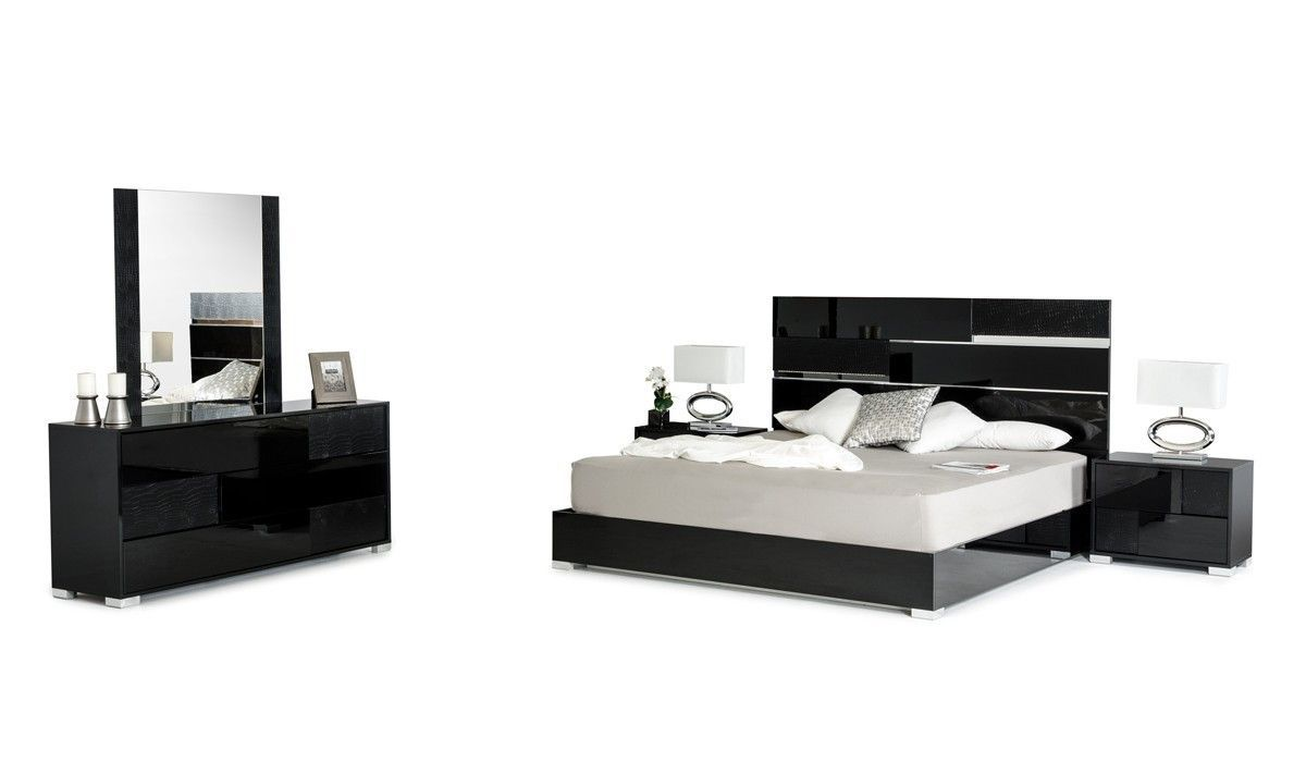 Modrest Ancona Italian Modern Black Queen Bedroom Set  VGACANCONA SET BLKProduct : 71180|