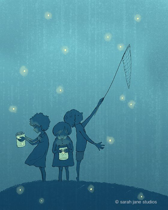 Catching Fireflies Just The Extras Art Illustration Drawings