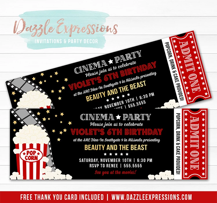 Movie Ticket Invitation 5 Free Thank You Card In 2020 Cinema Party Backyard Movie Party Movie Party Invitations