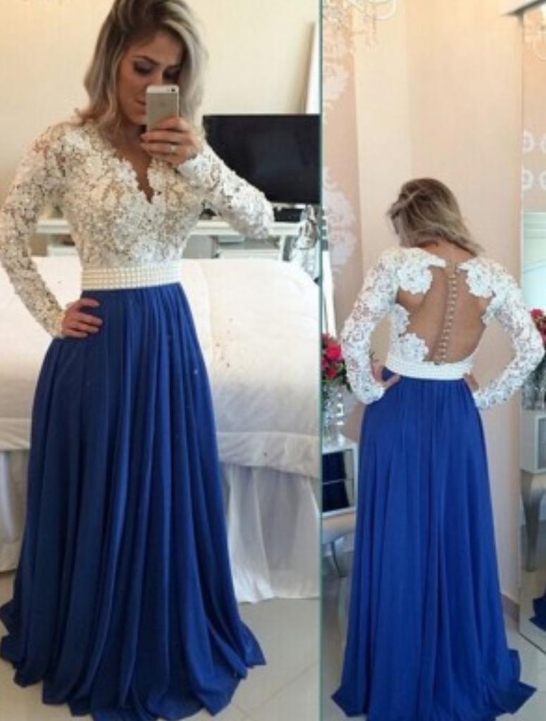 Custom Made A Line Long Sleeves White And Blue Lace Prom Dresses Lace Formal Dresses Prom Dresses Long With Sleeves Chiffon Prom Dress Royal Blue Prom Dresses [ 1024 x 775 Pixel ]