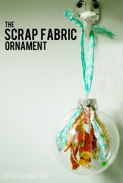 The Scrap Fabric Ornament (by Life as a Thrifter) My mom and I are going to be giving these as gifts. They are easy to make and so cute! #scrapfabric