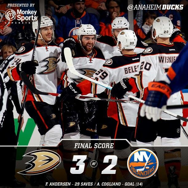 Ducks Draw To 2 And 2 On The East Coast Swing With A 3 2 Win Over The Isles With Images Anaheim Ducks Anaheim Ducks Hockey Ducks Hockey