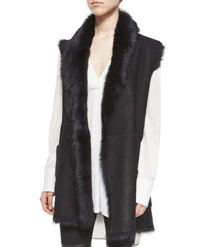 Shearling Fur Tie-Waist Reversible Vest