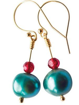 teal pearl & garnet with rolled gold, new collection
