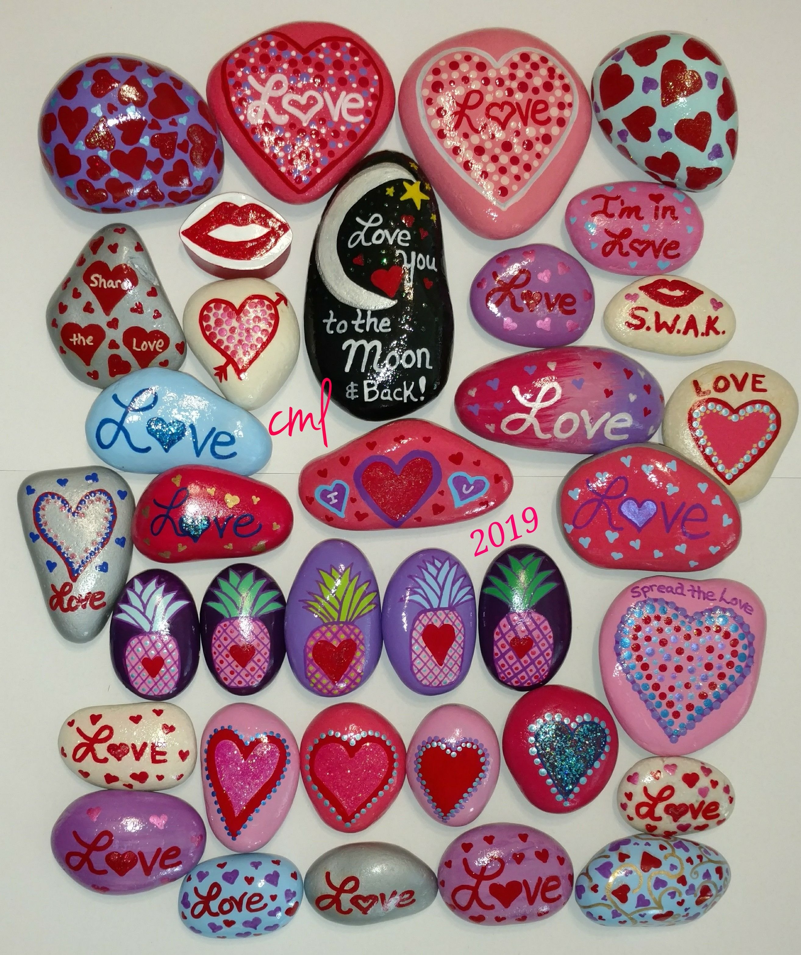 Red Hearts and Pink wood bead stones Valentines Day
