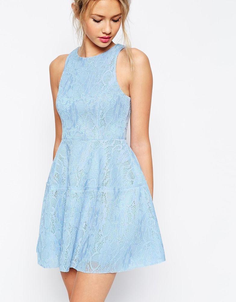 6527af431f ASOS Bonded Lace High Neck Lantern Mini Skater Dress Baby Blue UK 10 EU 38 US  6