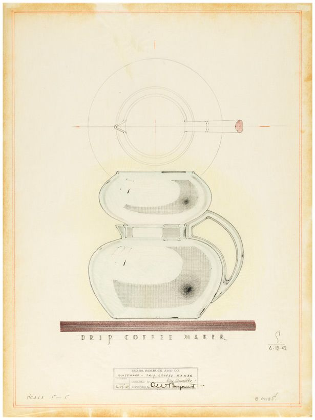 Design for Drip Coffee Maker for Sears 1942 / Karl Schneider    love product sketches like these