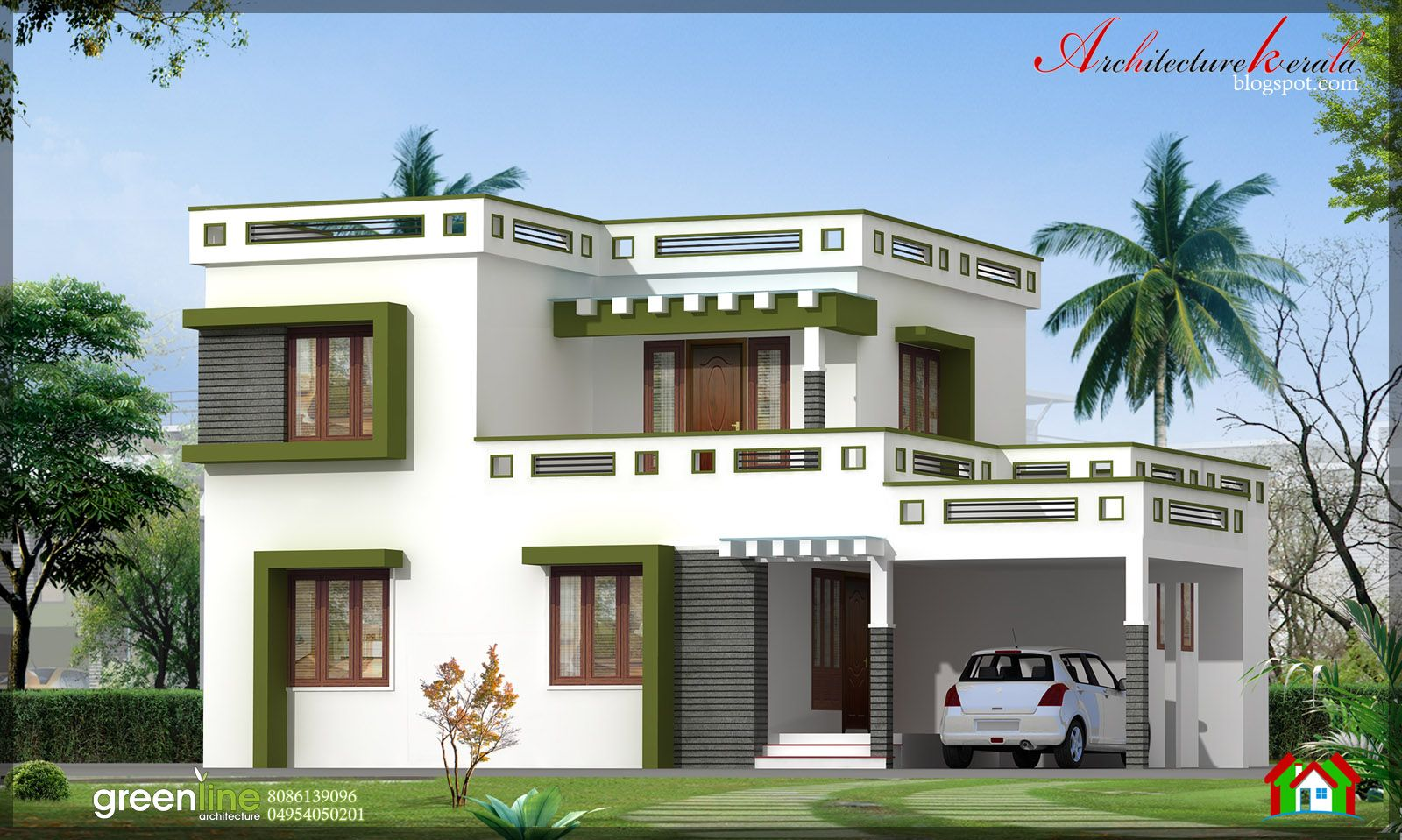 Kerala house plan photos and its elevations contemporary for Kerala house images gallery