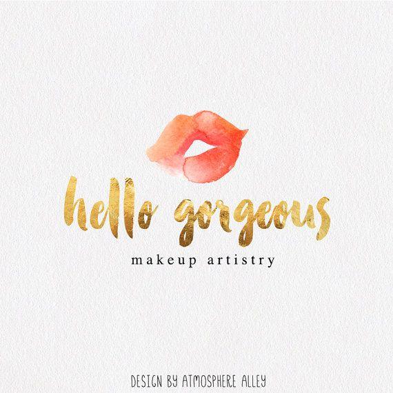 Premade Logo Design Watercolor Kiss Makeup Artist Beauty Blog Small Business Lips Red Lipstick