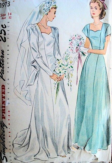 1940s BRIDAL GOWN WEDDING DRESS PATTERN SWEETHEART NECKLINE ...