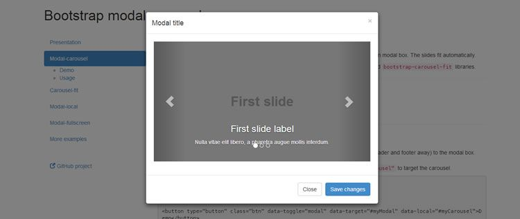 A collection of plugins for displaying a carousel in fullscreen modal window Extending Bootstrap