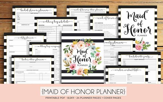 photo about Maid of Honor Printable Planner known as Maid of Honor Planner, Marriage ceremony Planner Printable, Bridesmaid