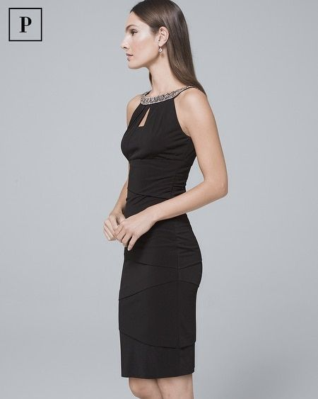 10c65a90bc750 Women's Petite Embellished-Neck Black Instantly Slimming Sheath Dress by White  House Black Market